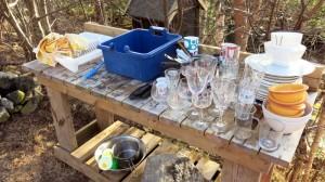 Berg met afwas