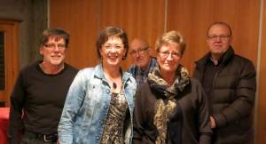 Het nieuwe bestuur: Gunnar, Janet, Jostein, Annlaug en Ola