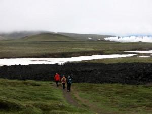 Kraflagebied met nieuw, oud en ouder lava