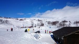 De top is aan het eind van de skilift