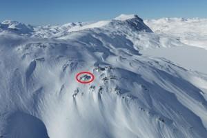 Danskehytta in de winter, te zien vanuit de lucht (geleende foto)